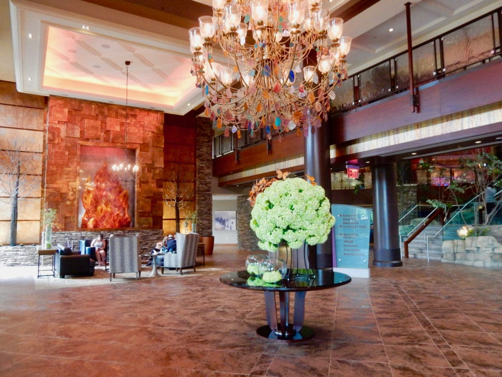 Floral and Butterfly Bouquet Arrangements in lobby of Mount Airy Casino