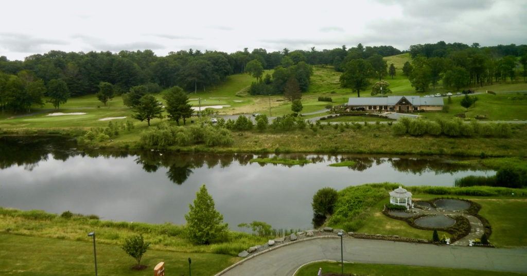 View of golf course and pond at Mount Airy Casino