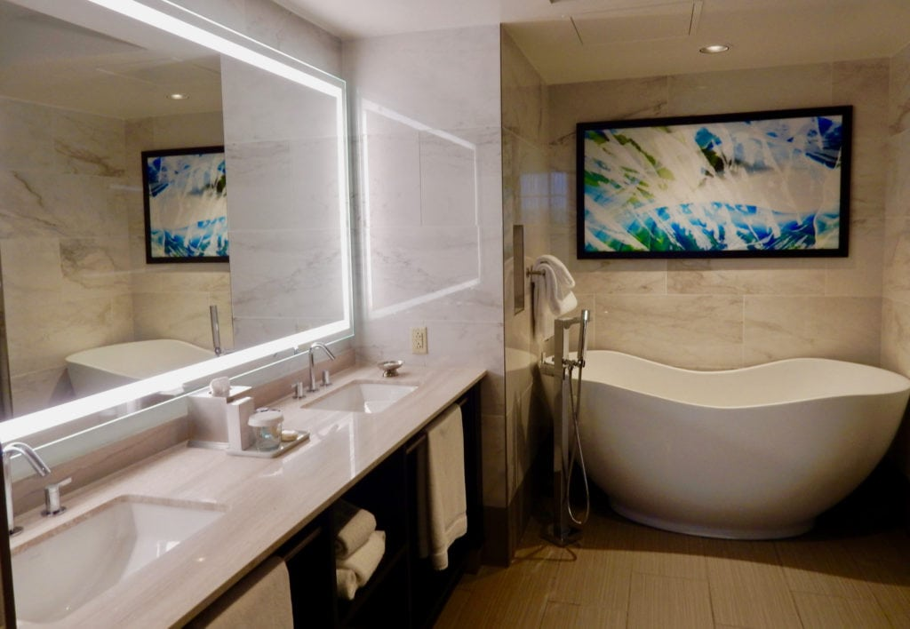 Contemporary hotel bathroom with curvy soaking tub at Mount Airy Casino Resort