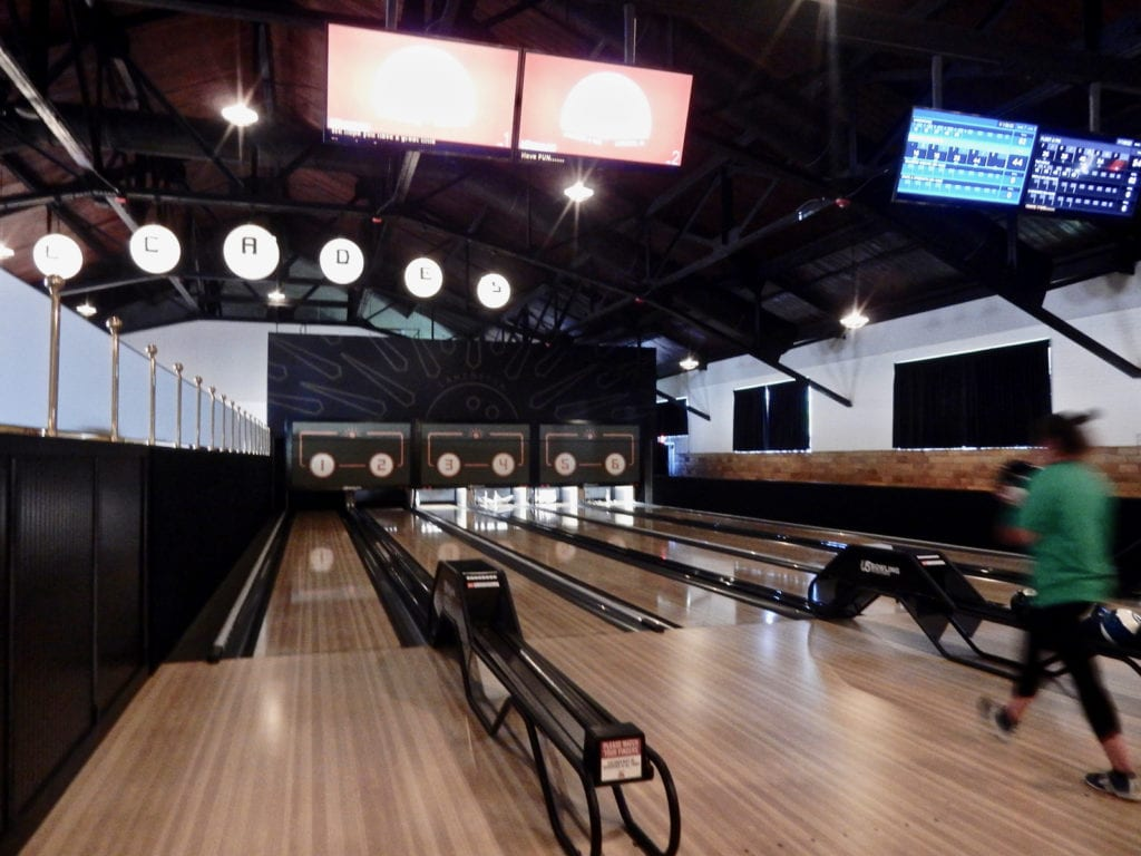 Bowling lanes at Decades in Lancaster PA