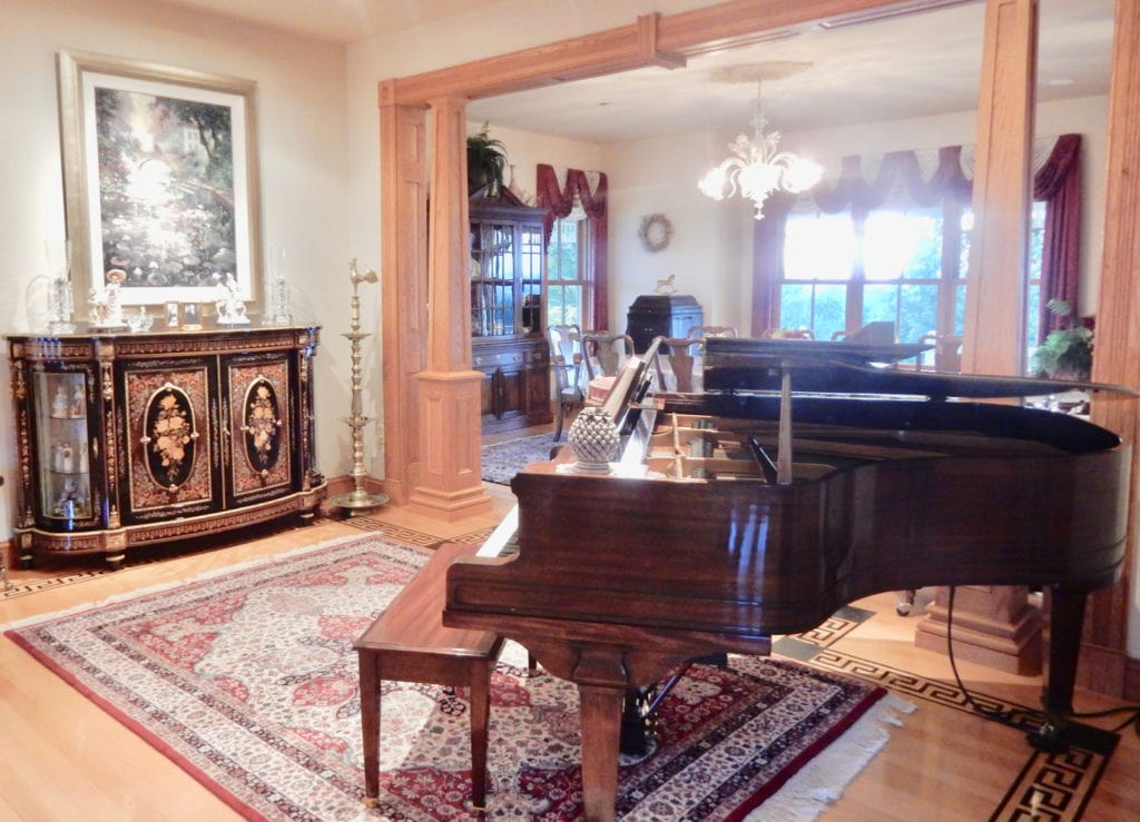 Hurst House BnB Living Room with Grand Piano