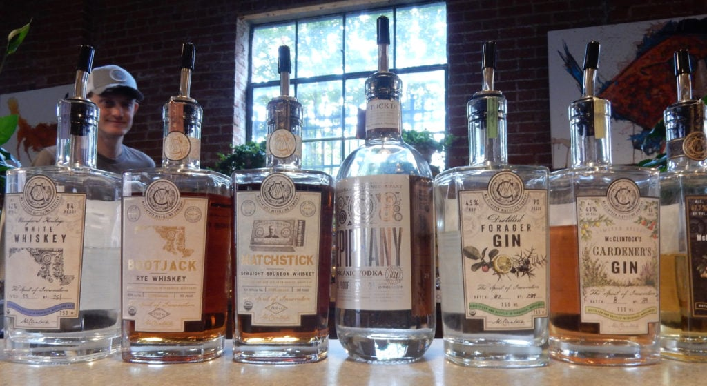 Lined up at the tasting room bar McClintock Distilling Spirits Frederick MD
