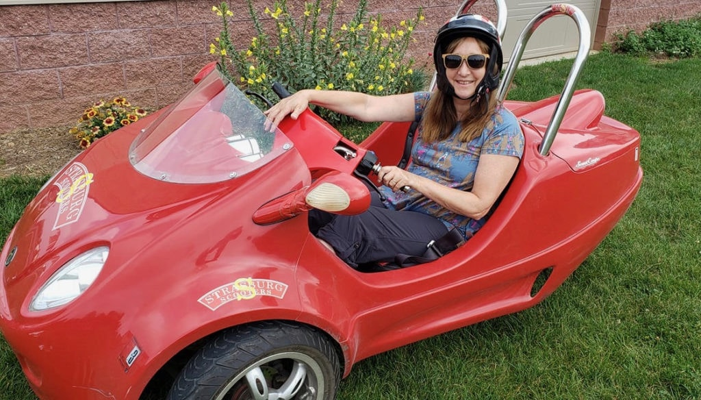 Author Malerie Yolen-Cohen in Scoot Coup - Strasburg Scooters PA
