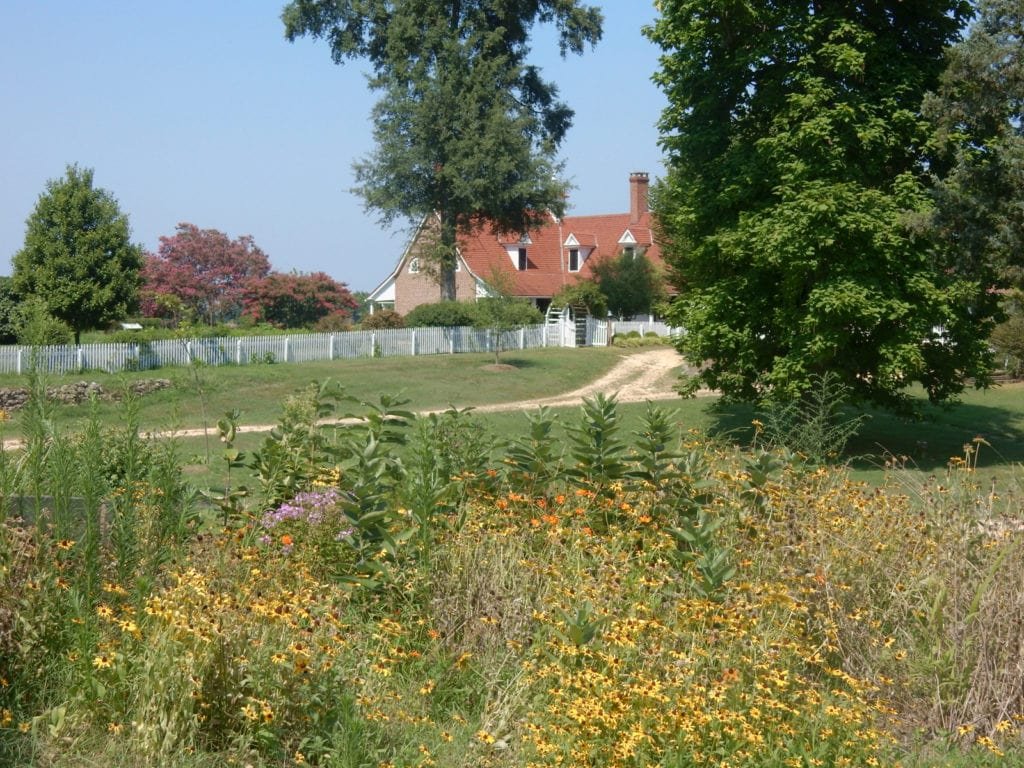 Gardens and landscape of a plantation manor house in MD