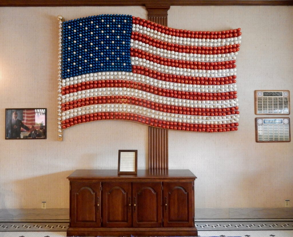 Corning Glass Bulb American Flag Penn-Wells Hotel Wellsboro PA