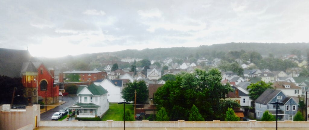Carbondale PA in the rain from Hotel Anthracite