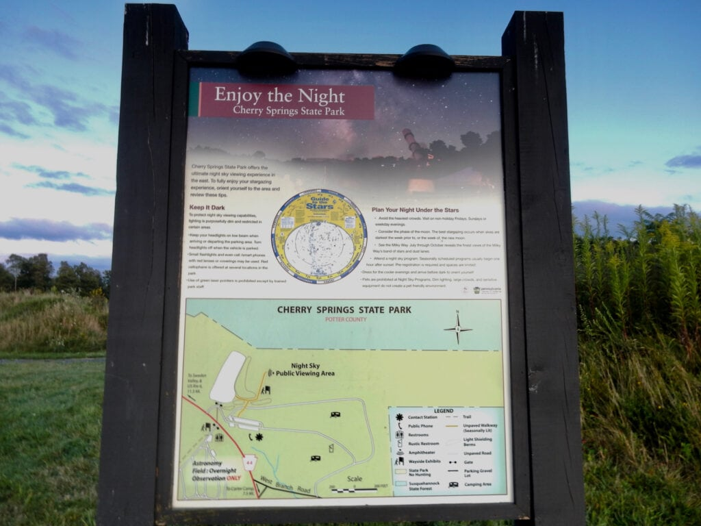 Informational sign of Cherry Springs State Park Dark Sky for stargazing