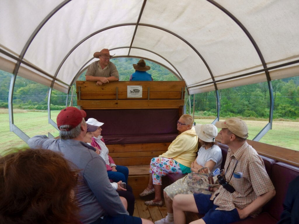 Guided covered wagon tour outside of Wellsboro PA