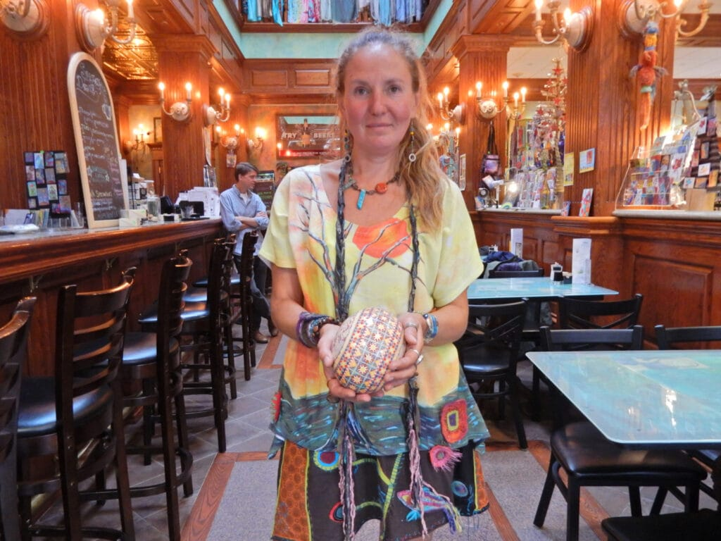 Olga with decorated Ukranian Egg, Coudersport PA