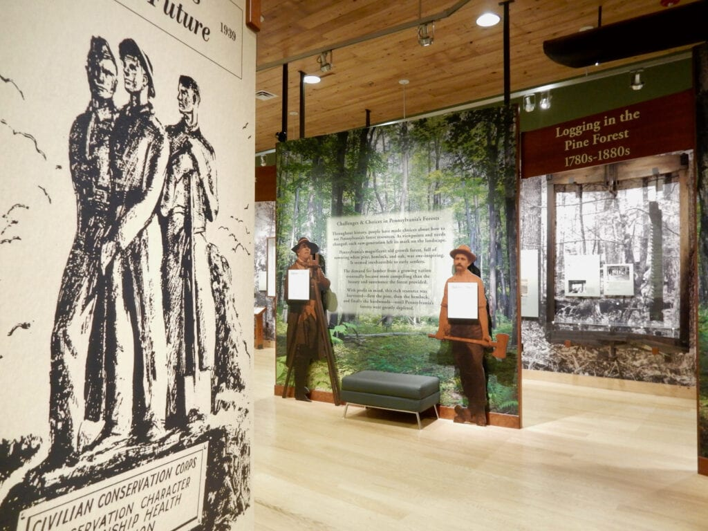 Exhibits about the lumber industry in Pennsylvania at PA Lumber Museum