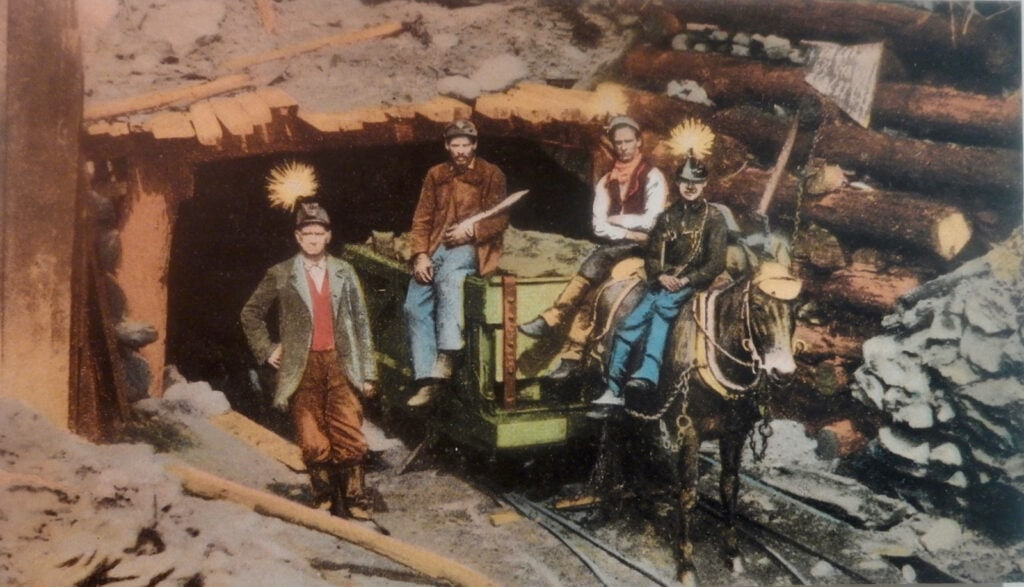 Tinted photo of coal miners, Hotel Anthracite Carbondale PA