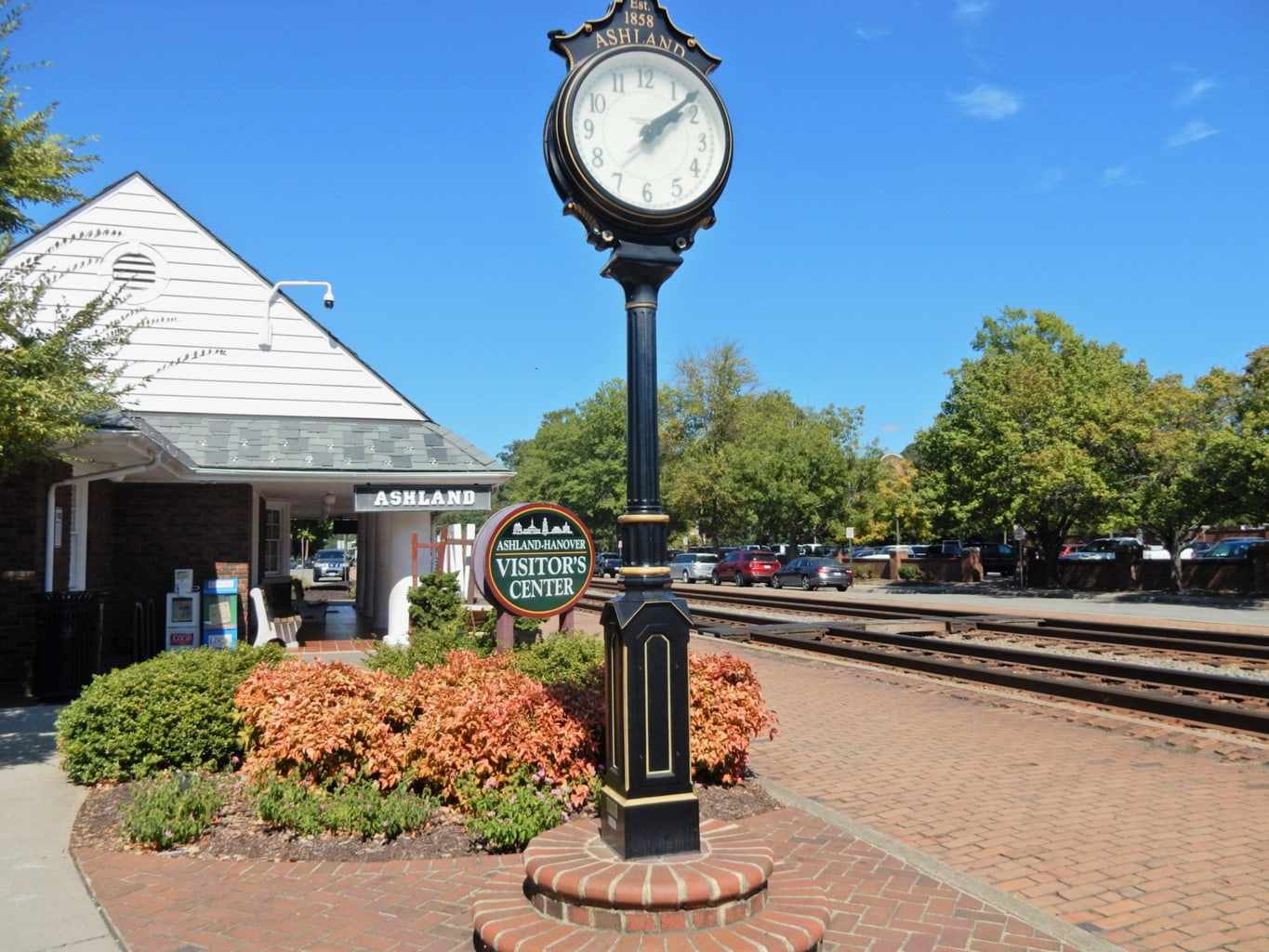 Train clock next to Ashland VA train station