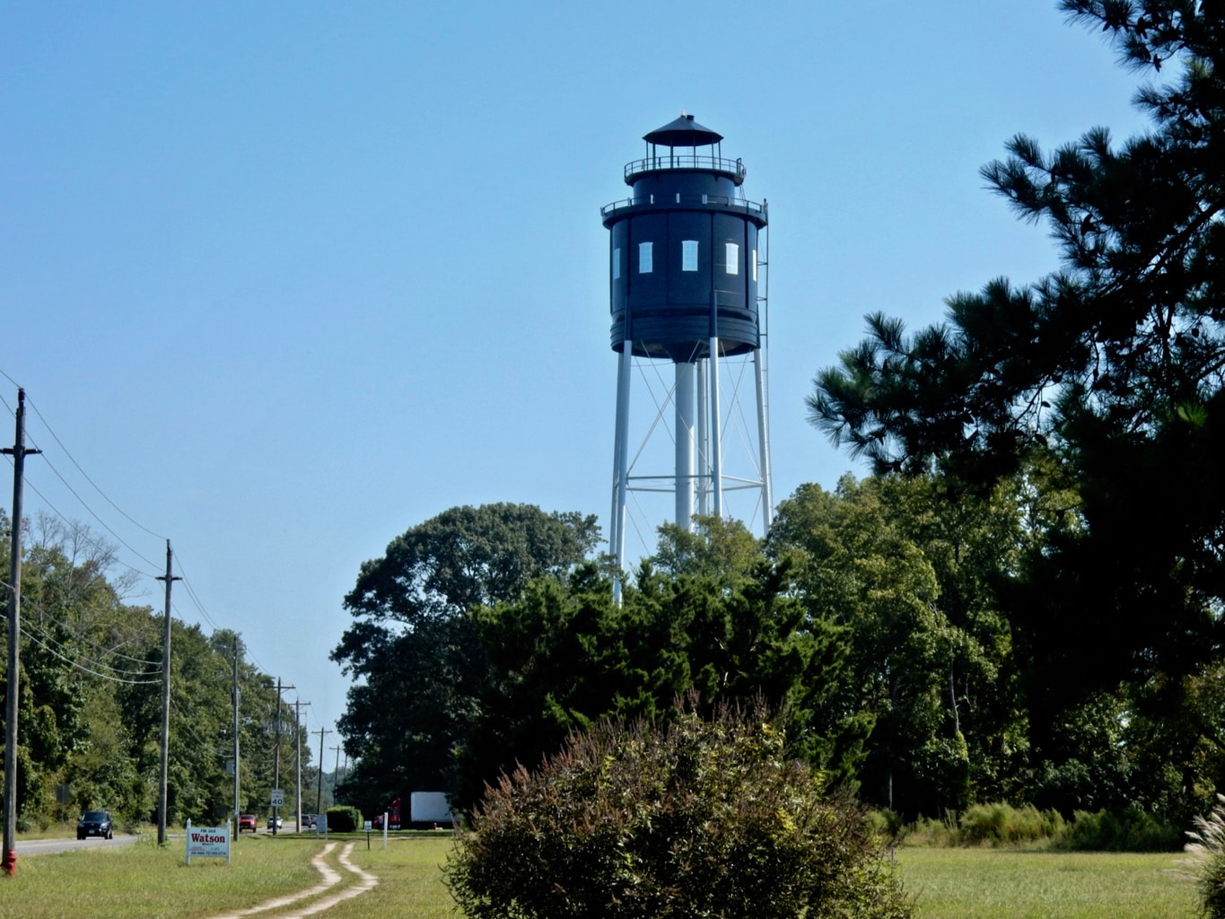 Black lighthouse water tower Cape Charles VA