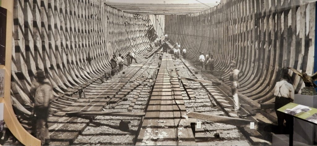 Photo of shipbuilding at Delaware Historical Society Wilmington
