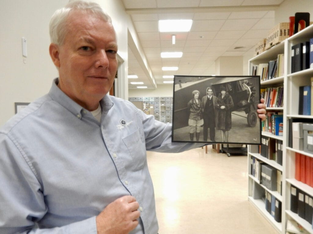 Delaware Public Archives, Archivist Tom Summer with photo of Amelia Earhart Dover DE
