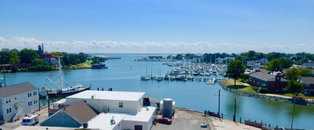 Hampton VA harbor from roof deck of Virginia Air and Space Museum