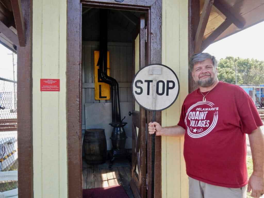 Doug Poore at Harrington Railroad Museum Watchman's Shack DE
