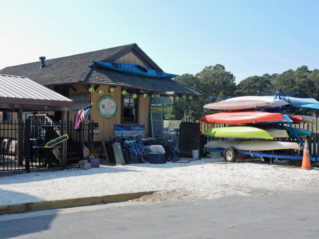 Kayaks on shore in Onancock VA