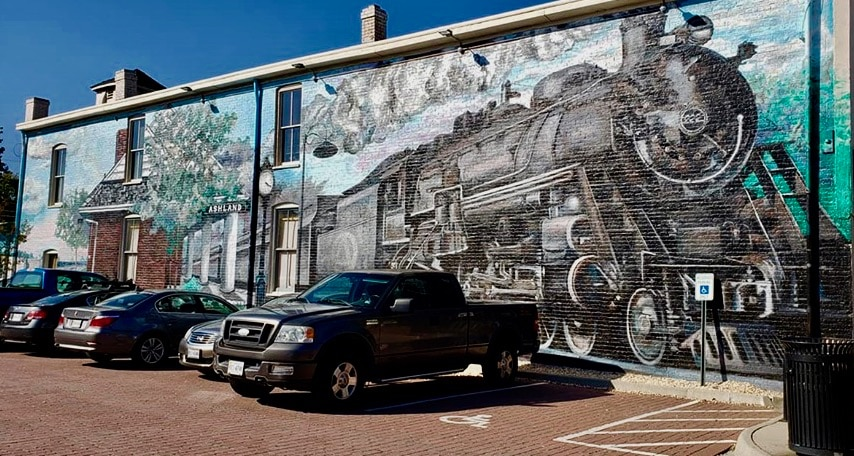 Mural of locomotive on side of building in Ashland VA