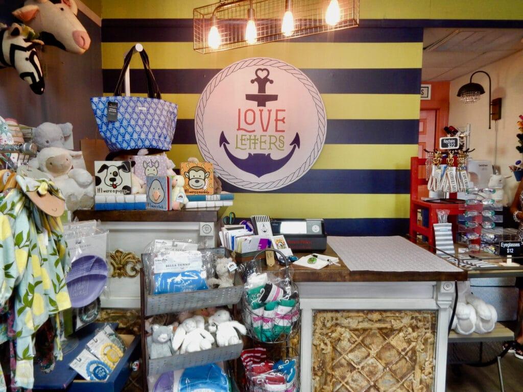 Inside gift shop, Love Letters Cape Charles VA