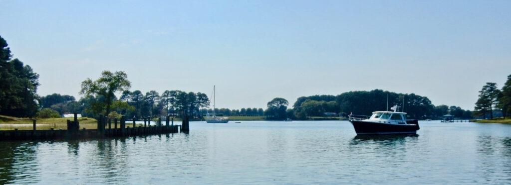 Onancock VA Harbor with sailboats