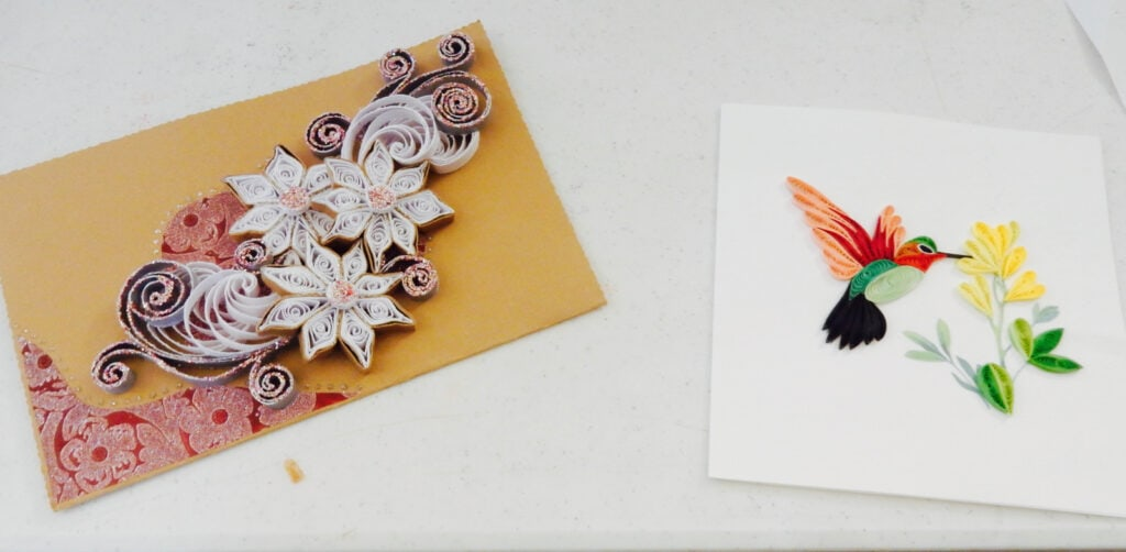 paper quilling examples of flowers and birds