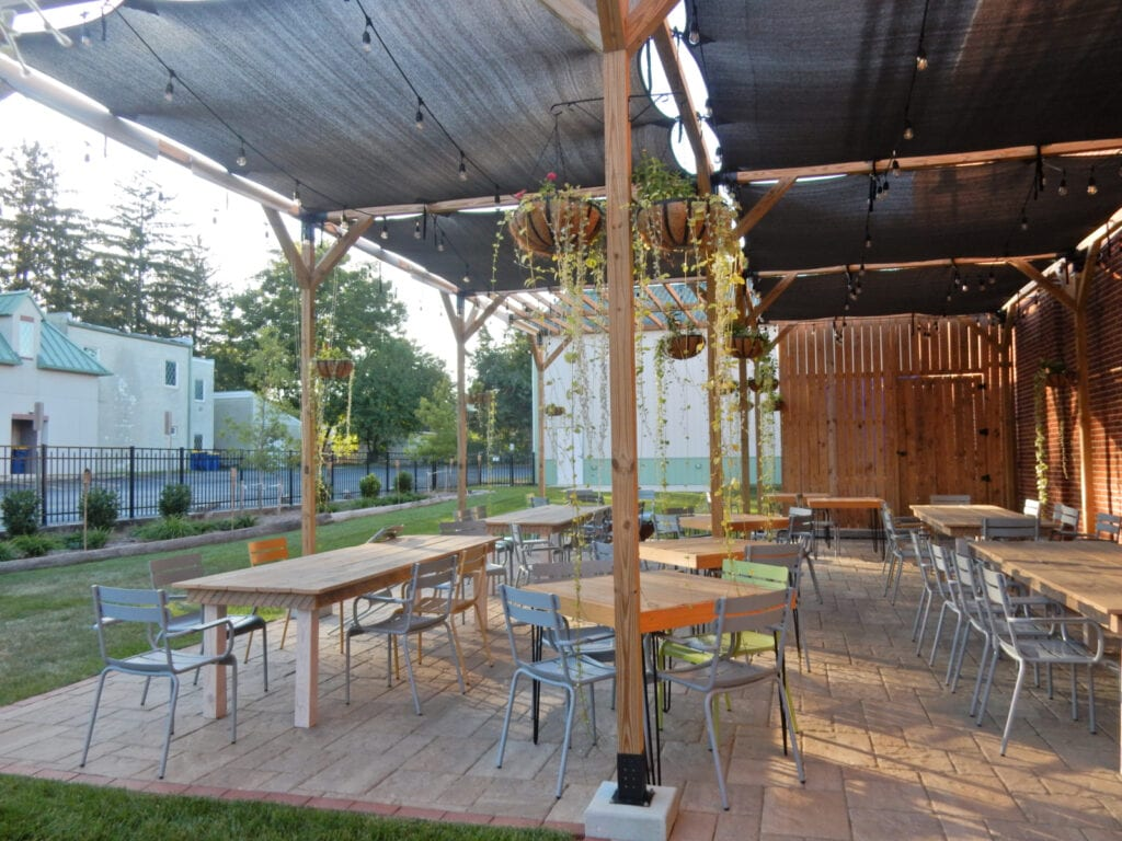 Pretty outdoor covered Patio Painted Stave Distilling Smyrna DE