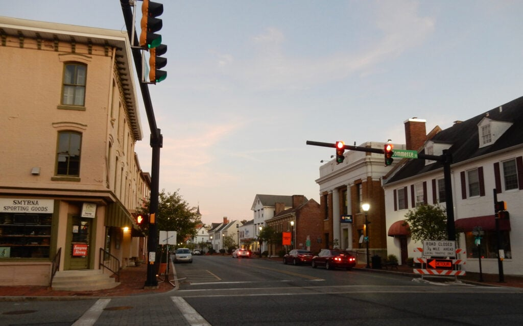 Downtown Smyrna DE at dusk