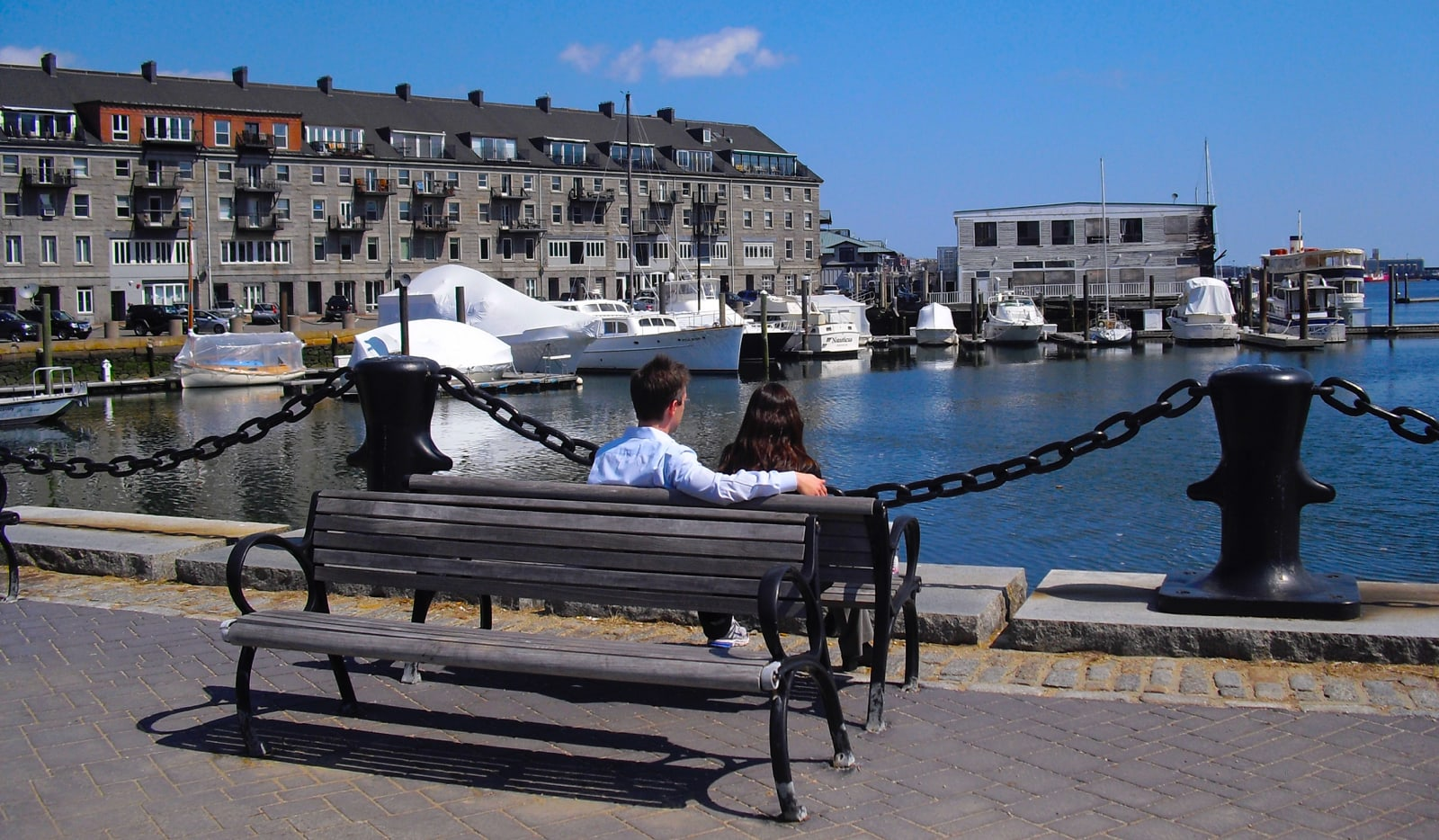 Couple on Bench on Boston MA Waterfront