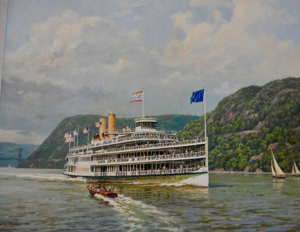 Painting of Hudson River Day Liner steamer from Hudson River Maritime Museum Kingston NY