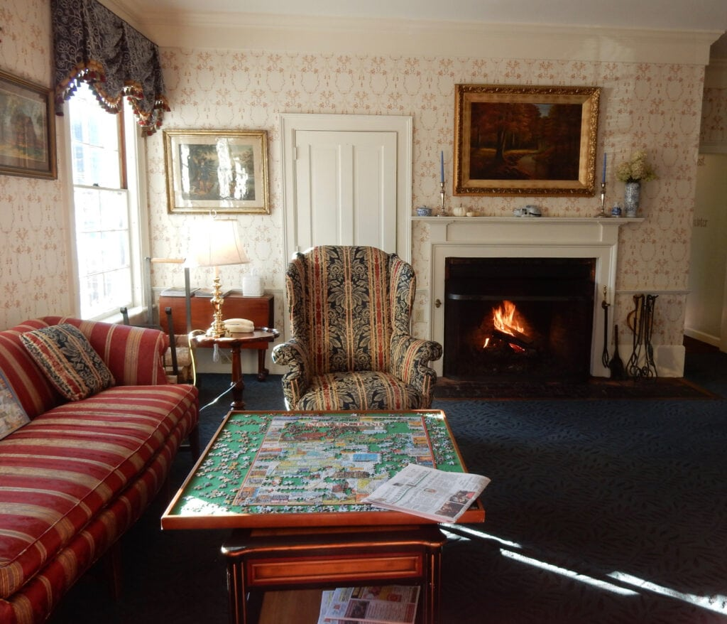 Deerfield Inn Lobby with Puzzle Historic Deerfield MA