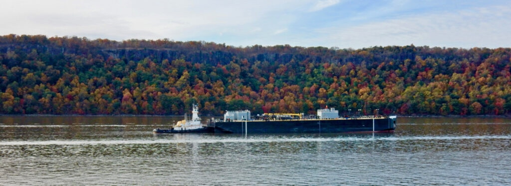 Palisades Fall Foliage with Barge and Tugboat