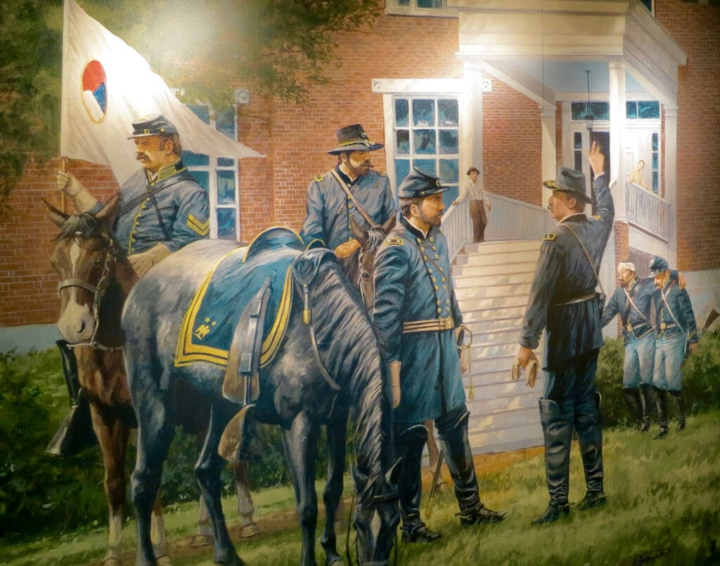 Painting of injured Union Troops walking into Seminary Ridge building Gettysburg PA