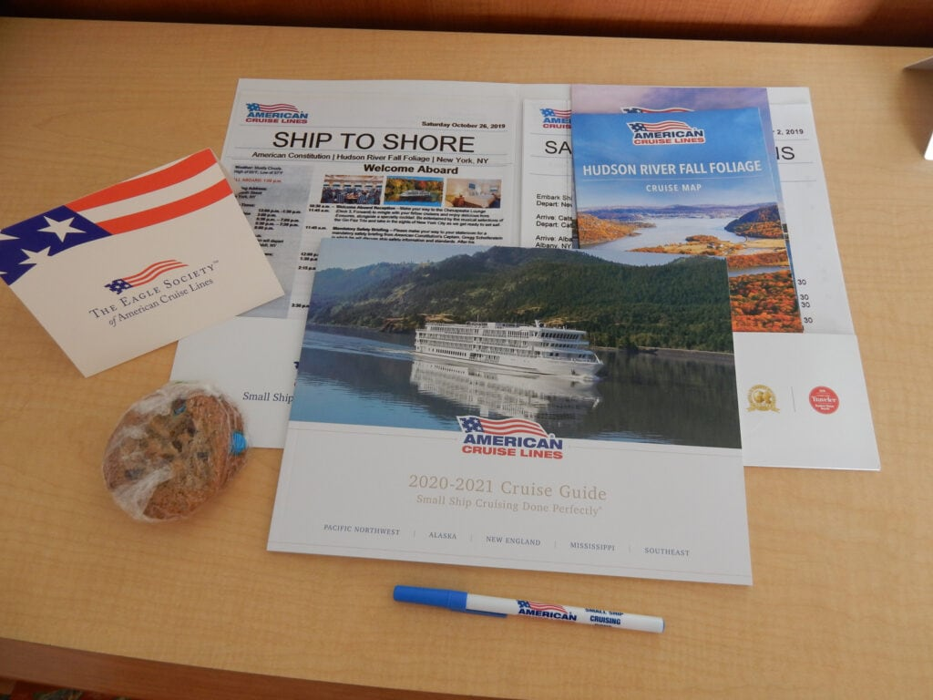 Welcome packet in room on American Cruise Lines