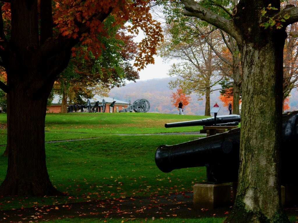 West Point cannons pointed at Hudson River NY