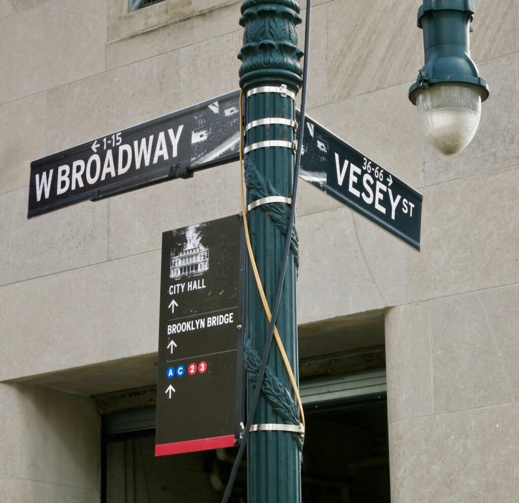 Broadway and Vesey Downtown Manhattan