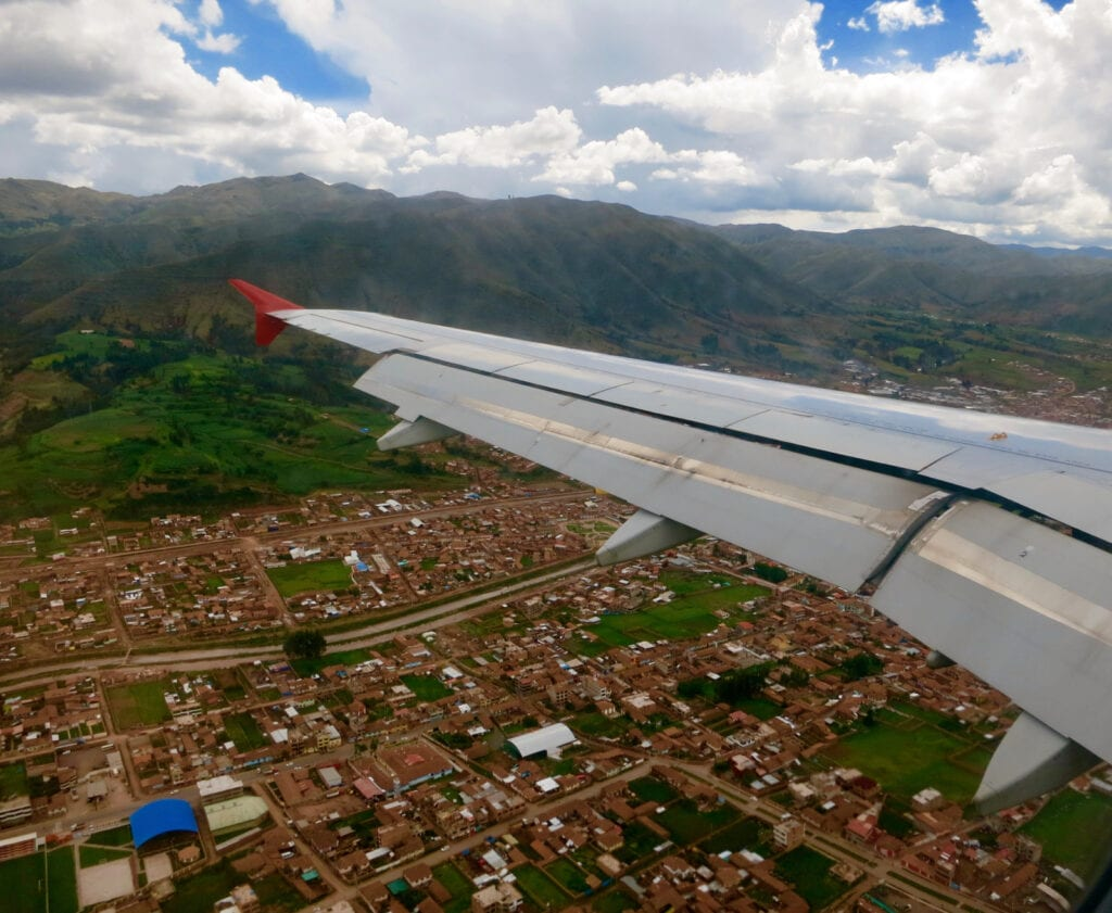 Landing in Cusco Peru