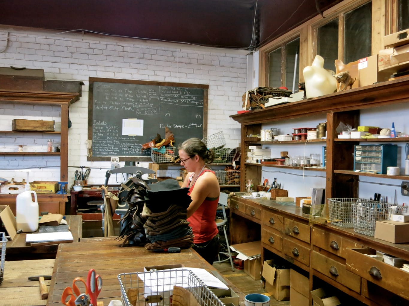 At work at Peg and Awl Handcrafted items Philly PA
