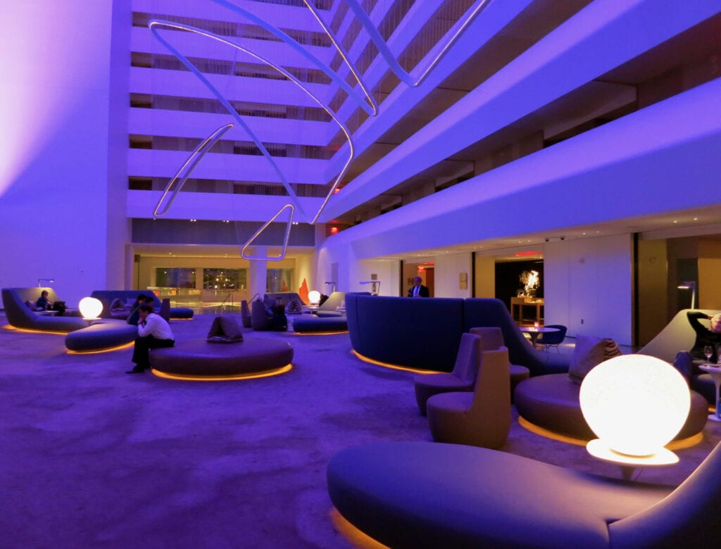 Purple Lobby Conrad NYC Hotel