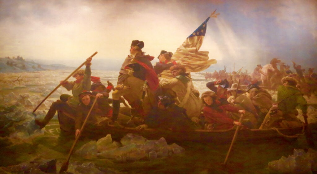 Painting of Washington Crossing Delaware