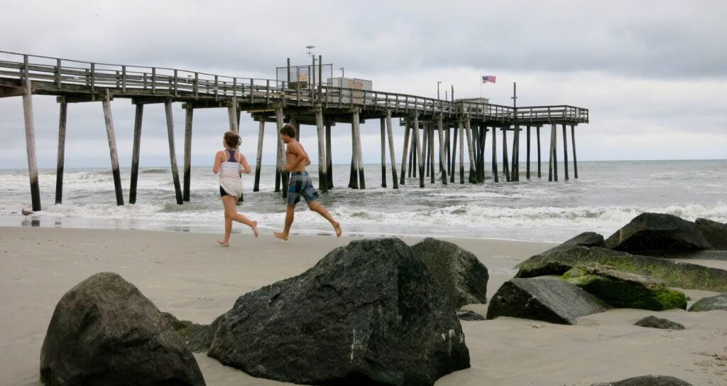 Running on Margate City Beach near Atlantic City NJ