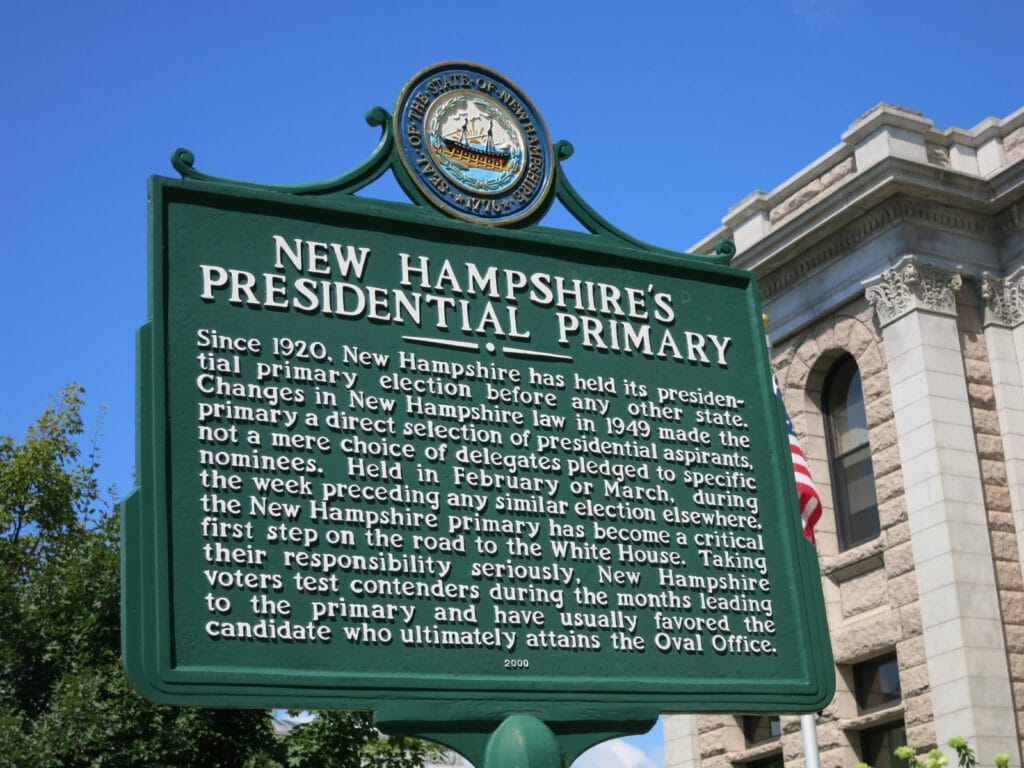 NH Presidential Primary Plaque Concord NH