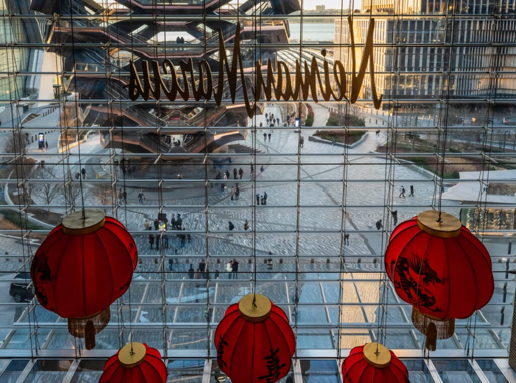 The Vessel seen through Neiman Marcus Window at Hudson Yards Mall.