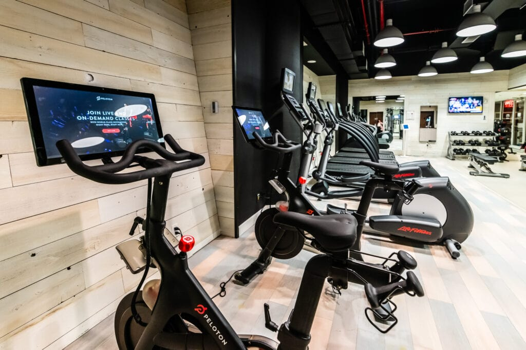 Peloton Bikes at Crowne Plaza HY36 Fitness Center