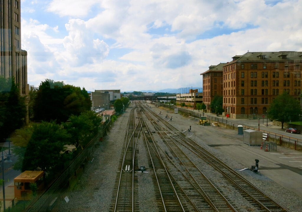 Roanoke VA Train Tracks under sky walkway