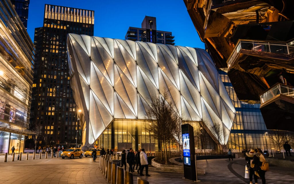 The Shed in Hudson Yards at night.
