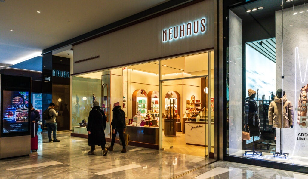 The shops at Hudson Yards includes Neuhaus, one of a couple of chocolate shops.