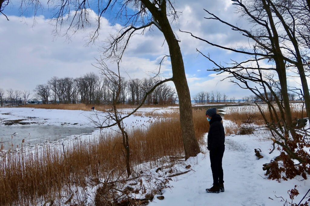 Marshland Conservancy hiking paths in snow Rye NY