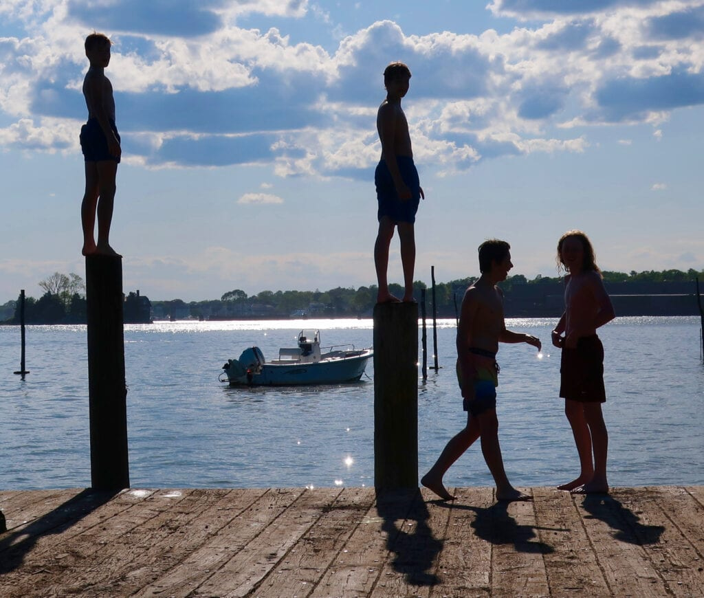 swimming off docks Stony Creek CT Thimble Islands