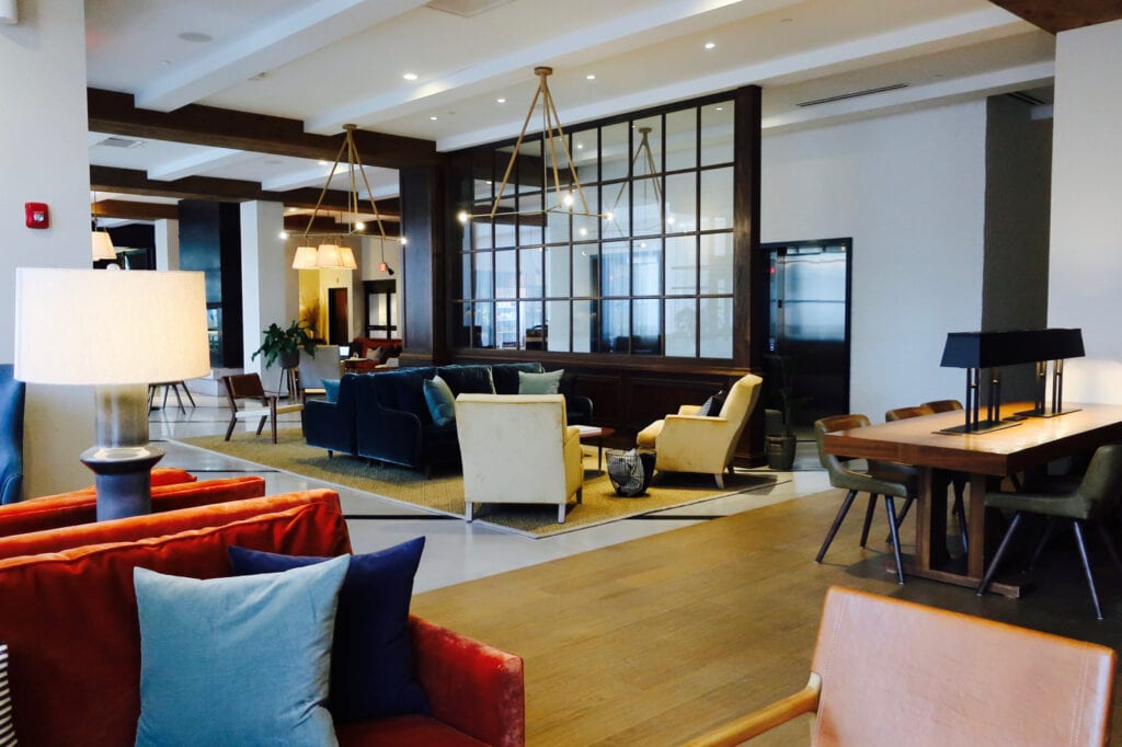 The Blake Hotel workspace in lobby New Haven CT
